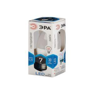 Лампа LED свеча холодный свет ЭРА 7W 840 E27