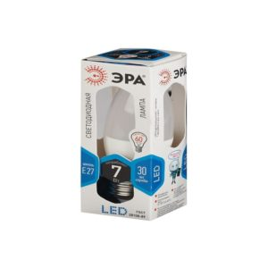Лампа LED свеча холодный свет ЭРА 7W 860 E27