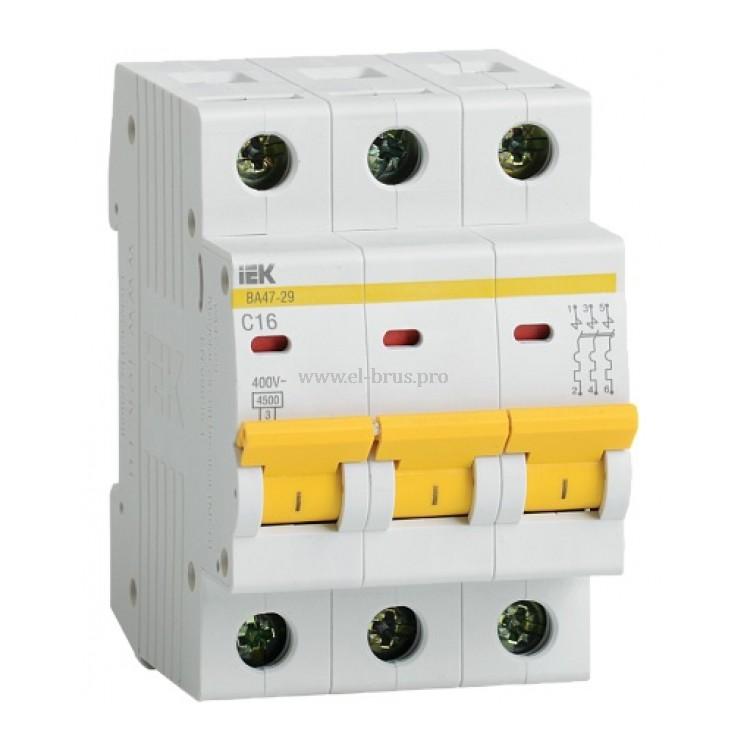 Автомат IEK ВА47-29 3Р C16