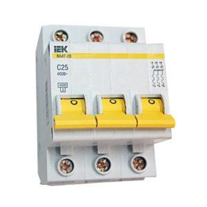 Автоматический выключатель трехполюсной IEK ВА47-29  С25