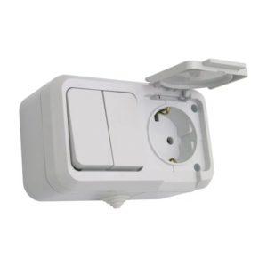 Блок комбинированный накладной 2-кл выключатель+1-м розетка с/з с крышкой белый MAKEL Nemliyer
