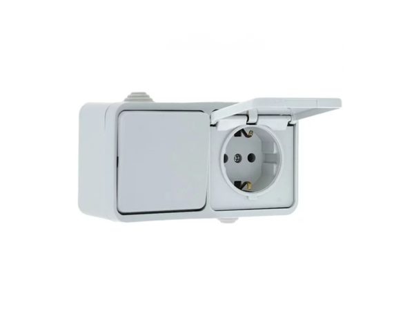 Блок комбинированный накладной 1-кл выключатель+1-м розетка с/з вертикальный  белый UNIVERSAL Олимп