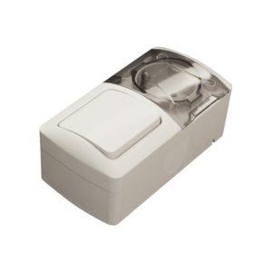 Блок комбинированный накладной 1-кл выключатель+1-м розетка с/з с крышкой EL-BI EVA