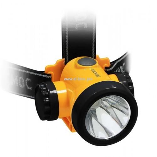 Фонарь налобный  1 LED 3Вт аккум. КОСМОС H3WLi-On
