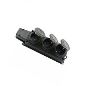 Колодка каучуковая 3-гн c/з c крышкой черная BEMIS IP54