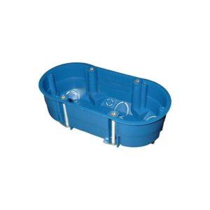Коробка установочная овальная 2-ая  по гипсокартону с/у 140х65х45мм синяя 10142