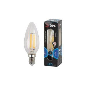 Лампа F-LED свеча холодный свет ЭРА  5W 840 E14