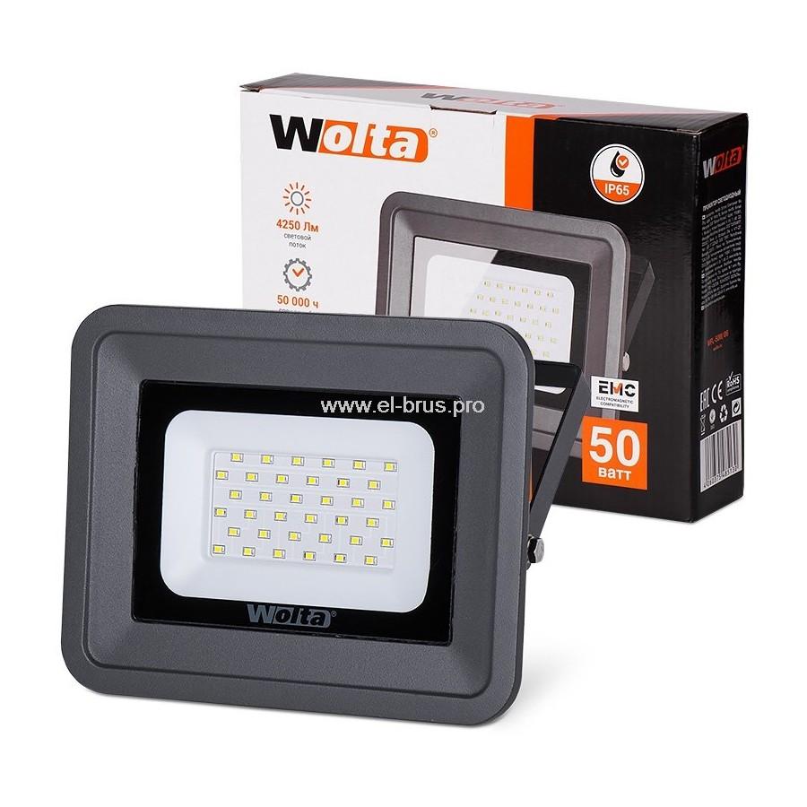 Прожектор LED  50W 5500K IP65 черный WOLTA