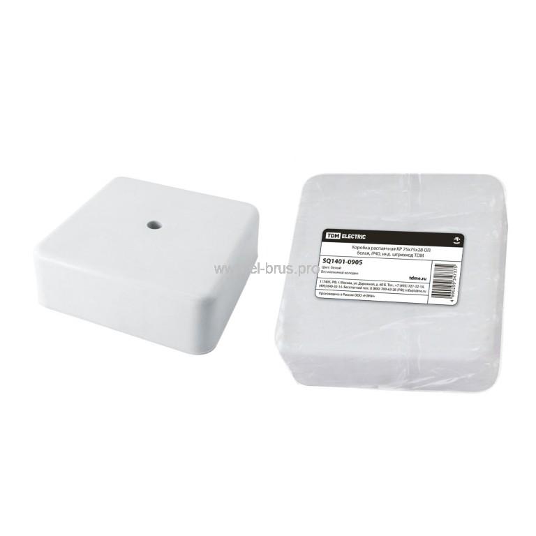 Распаячная коробка ОП IP40 белая TDM 75х75х20мм