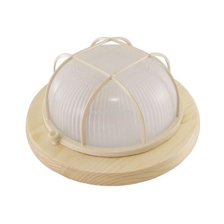Светильник E27  60Вт IP54 круг/решетка сосна TDM НПБ1302