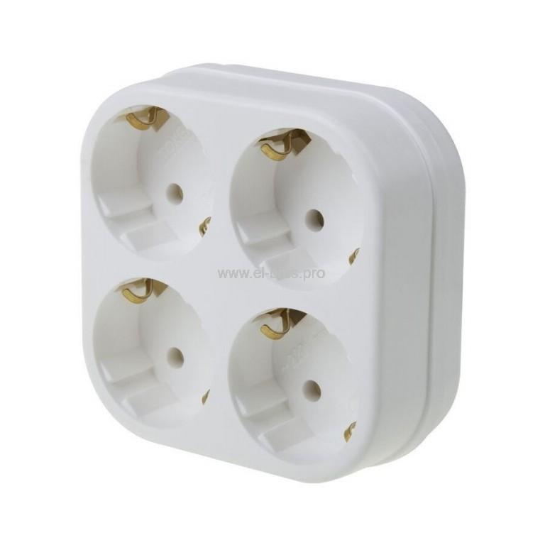 Блок 4-ой б/з 10A 220В белый REXANT