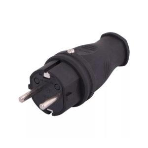 Вилка кабельная каучуковая прямая с/з черная 16А 220В IP44 LEZARD