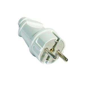Вилка электрическая прямая с/з 16А 250В белая UNIVERSAL
