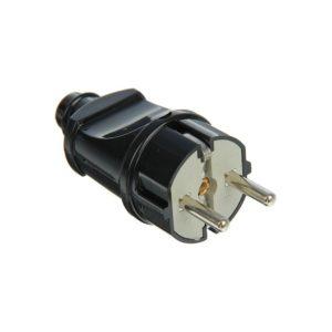Вилка электрическая прямая с/з 16А 250В черная UNIVERSAL
