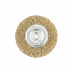 Щетка для УШМ плоская витая латун. MATRIX Ø100х22,2х0,3мм