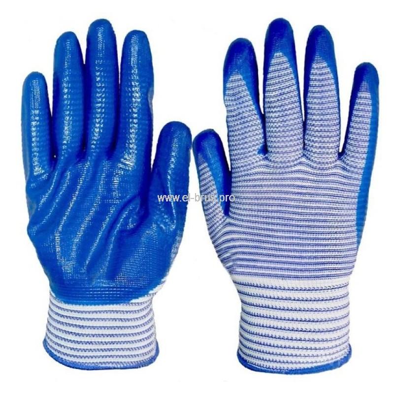 Перчатки 2-й облив 1/2 синие ПОЛОСА