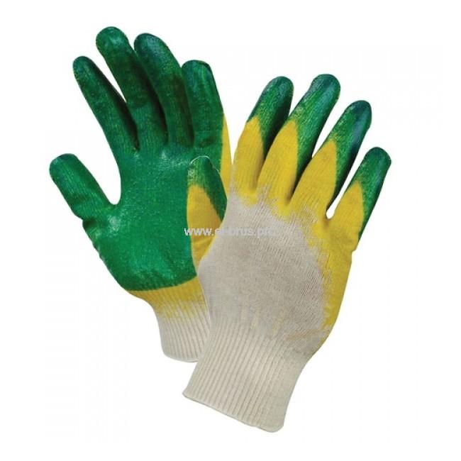 Перчатки утепл. 2-й облив 3/4 бел., зелен., желт. ЛЮКС