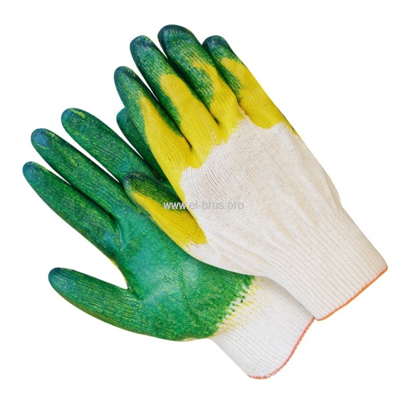 Перчатки 2-й облив 3/4 бел., зелен., желт. ЛЮКС