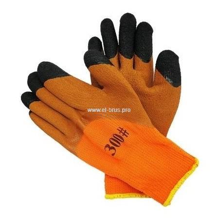 Перчатки утепл. 2-й облив 3/4 оранж., коричн., черн. Ноготок TOPPO №300
