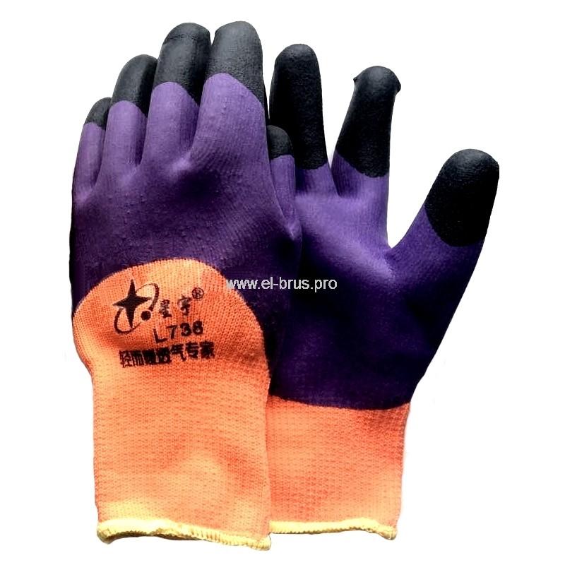 Перчатки 2-й облив 3/4 оранж., сирен., черн. Ноготок СИРЕНЬ