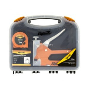 Набор степлер мебельный + скобы 500шт + рулетка 2м SPARTA 3шт