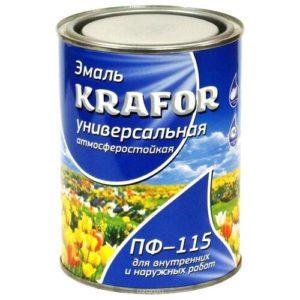 Эмаль ПФ-115 алкидная универсальная голубая KRAFOR 0,8кг