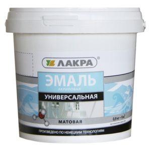 Эмаль в/д акриловая универсальная белая матовая ЛАКРА 0,9кг