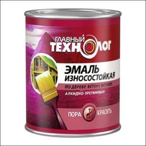 Эмаль алкидно-уретановая износостойкая коричневая Главный Технолог 0,75л