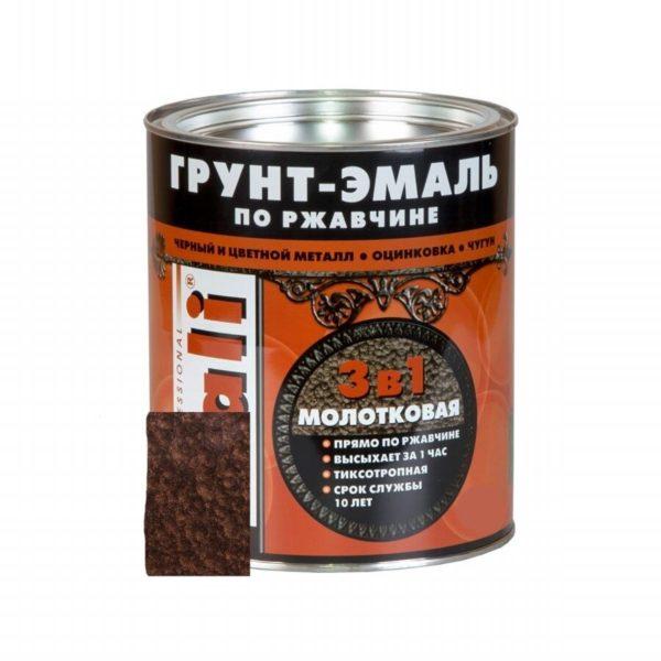 Грунт-эмаль по ржавчине молотковая шоколадная DALI 0,75л