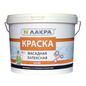 Краска в/д латексная фасадная белая ЛАКРА 3кг