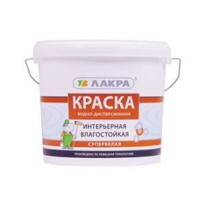 Краска в/д для внутренних работ белая ЛАКРА Интерьерная 3кг