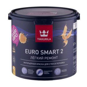 Краска в/д для внутренних работ белая матовая TIKKURILA Euro Smart 2  2,7л