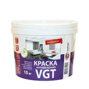 Краска в/д акриловая для внутренних работ белоснежная VGT Интерьерная 15кг