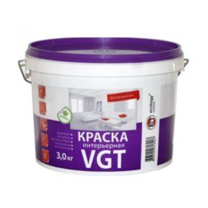 Краска в/д акриловая для внутренних работ белоснежная VGT Интерьерная 3кг
