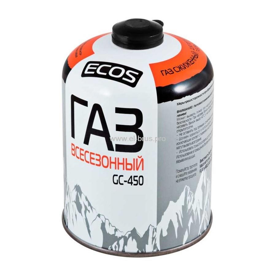 Газ в баллоне резьб. всесезонный ECOS GC-450 450г