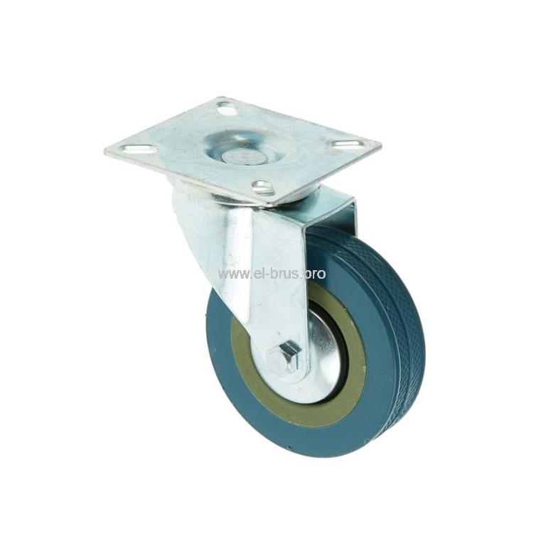 Колесо мебельное поворотное на площадке резин. Ø50мм
