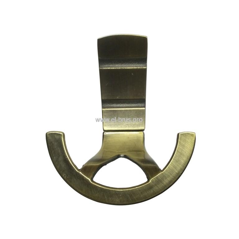 Крючок-вешалка 2-х рожковый бронза HDL