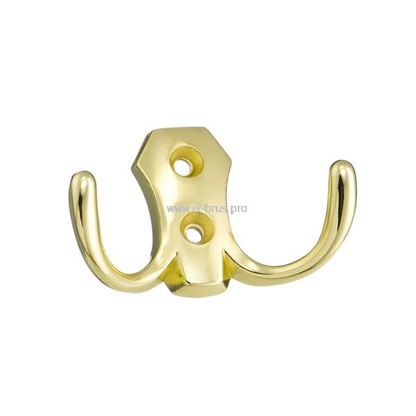 Крючок-вешалка 2-х рожковый золото КЛАССИК