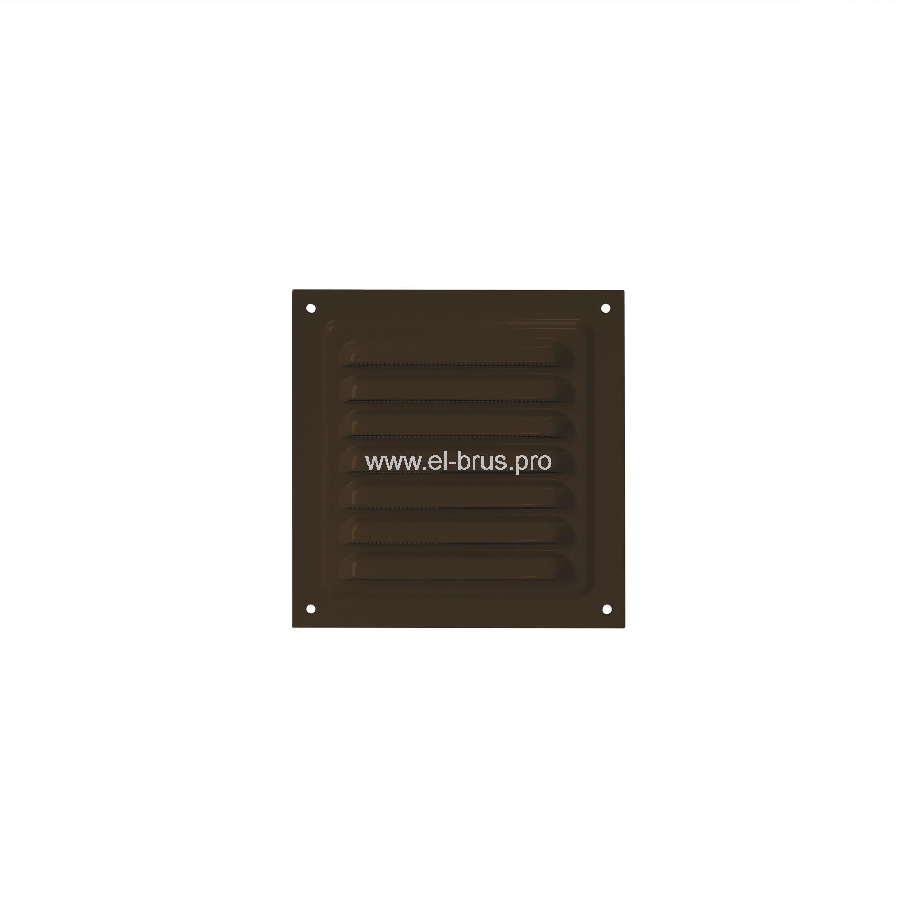 Решетка вент. с сеткой 125х125мм сталь коричневая ERA 1212МЭ