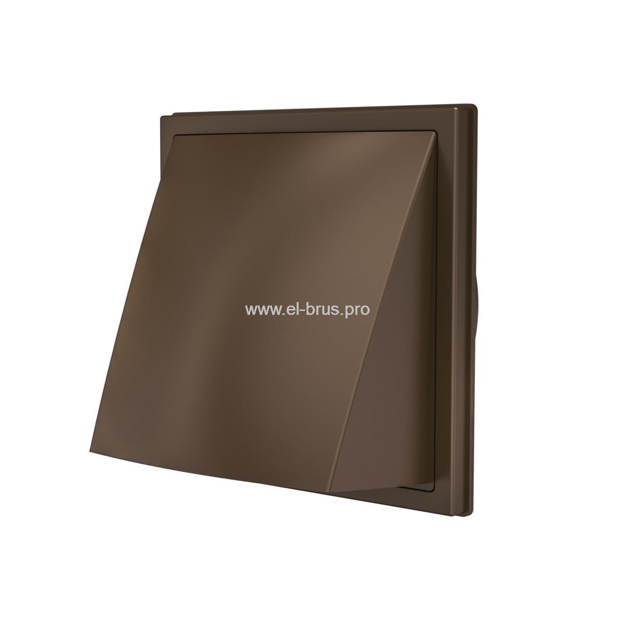 Выход стенной вытяжной с обратным клапаном 150х150мм с фланцем Ø100мм коричневый ERA